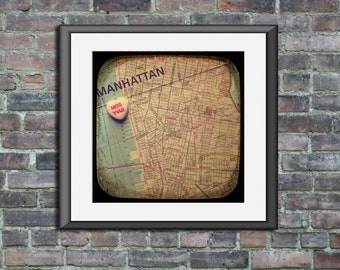 Map art print Miss you Greenwich Village New York City candy heart photo print custom going away graduation gift dorm wall decor