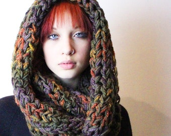 Ombre Cowl Hood scarf eggplant sage green amber cranberry red burnt orange