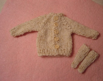 Off White with Gold Sparkle Sweater and Socks for Pullip and Blythe