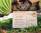 Postcard Wooden Wedding Invitation - Real Wood Invite