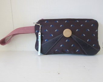 Wristlet by Tiny Marie Leather Accent Purple Navy