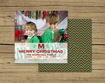 25 5x5 Square Monogram Photo Holiday Cards