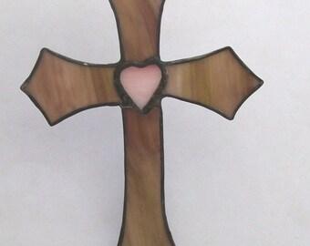 Heart of Easter cross stained glass heart of the cross suncatcher