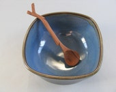 Ceramic Pottery Serving Dish, Dip Dish, Candy Bowl, Soup Bowl Brown and Blue