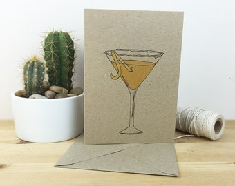 Sidecar cocktail recipe card - cocktail card - cocktail illustration - recipe on the back- recycled