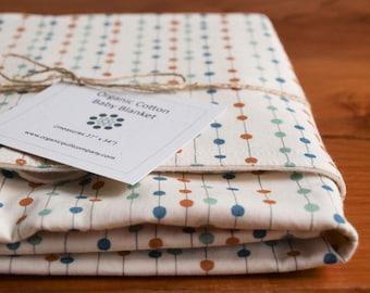 Modern Polkadot Baby Blanket; Aqua, Teal, Orange Organic Cotton Polka Dots Receiving Blanket Gift, Boys or Girls; Orange Bobbers (Last One)