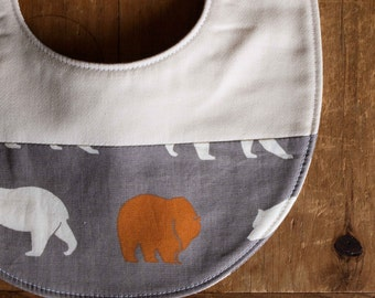 Sale, save 25%; Organic Baby Bib in BEAR HIKE in PEWTER, New Baby Grey Bear Bib Gift by Organic Quilt Company