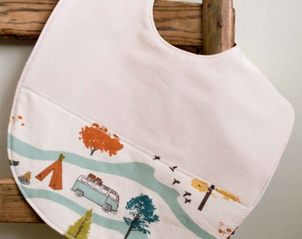 Camping Bib for Toddlers; Organic Cotton Highchair Bib; Campers Feeding Bib; Handmade Baby Shower Gift for Camping Parents; Feather River