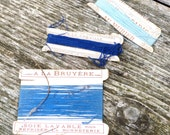 Vintage Antique 1900 French  silk thread on original packaging  3 blue colors mixed cotton / silk P2