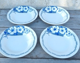 Vintage Antique old French 1930  blue and off white art deco pattern coutryside shabby chic set of 4 soup  plates