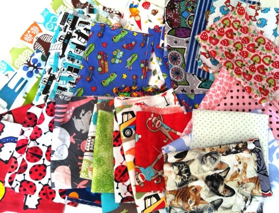 Kids childrens fabric scrap pack suprise pack designer for Modern childrens fabric
