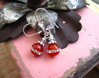 Gem drops earrings with swarovski's on silver hooks, OOAK