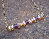 Eco-Friendly Statement Bar Necklace - Sweetness and Light - Recycled Vintage Chain and Glass Beads in Purple and Gold