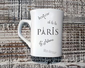 Personalized Paris Theme Coffee Mug, Custom Coffee Mug, Engraved Mug, Personal Engraved, Family Name Mu
