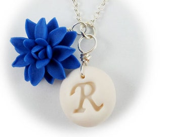 Personalized Dahlia Initial Necklace - Dahlia Jewelry