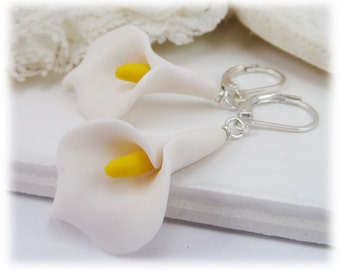 Arum White Calla Lily Drop Earrings - White Calla Lily Earrings, Calla Lily Jewelry, Realistic Calla Lily Earrings, Flower Jewelry