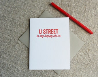DC Love Letterpress Card: U Street is my Happy Place