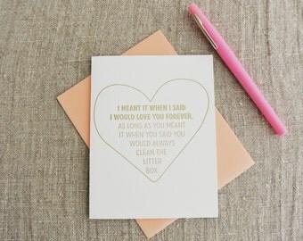 Letterpress Greeting Card - Love Card - Love you Forever Litter Box