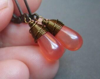 Coral Teardrop Earrings, Brass Dangle, Glass Opal Earrings, Dainty Petite Drop Earrings, Wirewrapped Small Minimalist Teardrop Earrings