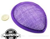 1 - Purple - Teardrop Hat Base - Sinamay Straw - Fascinator - Hat Foundation - Millinery