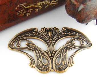 ANTIQUE BRASS Art Nouveau Stampings - Jewelry Ornamental Findings (C-808) #