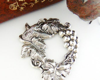 SILVER The Grapes and Aesops Fable Fox Stamping - Jewelry Antique Silver Findings (C-1206) #