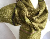 Shades of Khaki to Gray with Sage Bamboo Handwoven Scarf