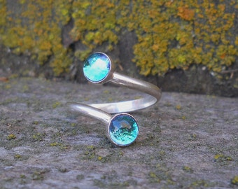 Spiral Sterling Ring  Blue Water Ring, Fused Dichroic Glass Ring, Rain Ring, Teal Ring, Adjustable Ring