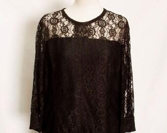 60% OFF Vintage Black lace large ladies dress