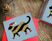 BLACK Cat Joy Peace Love scarf winter Holiday Card greeting cards by Stephen Fowler Christmas 12 pack