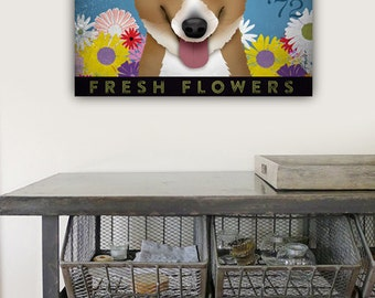 Corgi dog flower Company graphic illustration on gallery wrapped canvas by Stephen Fwoler