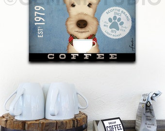 Scottie Coffee Company Scottish Terrier dog graphic art on gallery wrapped canvas by Stephen Fowler