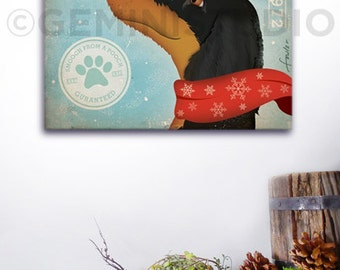 Dachshund dog mistletoe company graphic artwork on gallery wrapped canvas by stephen fowler