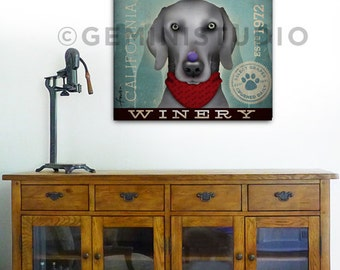 Weimaraner Winery graphic dog art on gallery wrapped canvas by stephen fowler