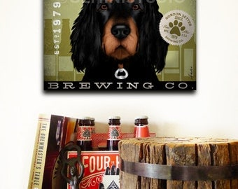 Gordon Setter dog beer brewing Company graphic illustration on gallery wrapped canvas by Stephen Fowler