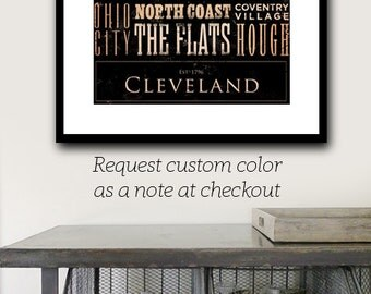 Cleveland Ohio neighborhoods typography graphic giclee signed print by Stephen Fowler