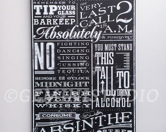 Bar Rules typography graphic word art on gallery wrapped canvas by Stephen Fowler