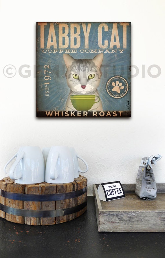 Tabby Cat Coffee Company illustration graphic art on gallery wrapped canvas by stephen fowler