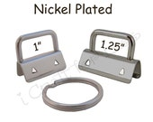 50 Key Fob Hardware with Key Rings Sets - 1 Inch or 1.25 Inch Nickel Plated - Plus Instructions - SEE COUPON