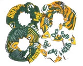 Green Bay Packers Fabric Hair Scrunchie Scrunchies by Sherry Ponytail Holders Ties Green Gold NFL Football