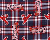 Atlanta Braves Baseball Plaid Fleece Hand Tied Baby Pet Dog Blanket Shower Gift