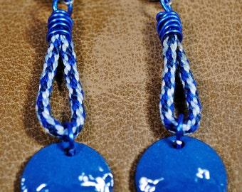 Kumihimo and enameled penny earrings