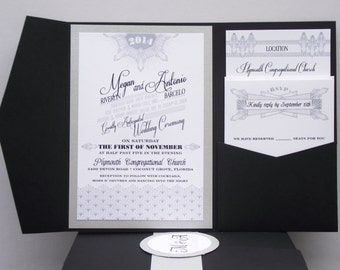 Great Gatsby inspired Wedding Invitation Suite