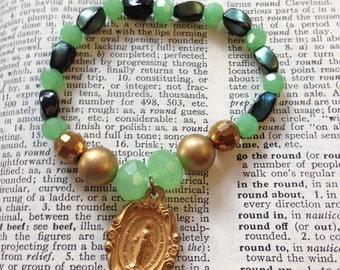 Vintage Saint Charm Green Beaded Stretch Stack Bracelet, Religious Charm Bracelet, Gift for First Communion,