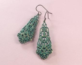 Verdigris filigree brass drop earrings art nouveau vintage style patina green antique finish