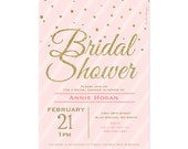 Blush Pink & Gold Glitter Bridal Shower Invitation Confetti Stripes Wedding Shower Printable bridal brunch invite