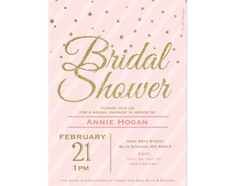 Blush Pink & Gold Glitter Bridal Shower Invitation Confetti Stripes Wedding Shower Printable bridal brunch invite