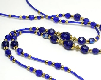 Lanyard Badge Holder Beaded Cobalt Blue Glass and Gold Beads ID Chain