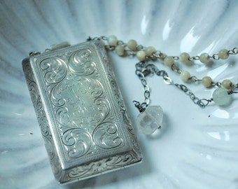 Nanette, necklace with antique sterling compact, rosary beads, quartz crystal