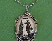 Sale 20% Off // MARY POPPINS Necklace - pendant on chain - Silhouette Jewelry // Coupon Code SALE20